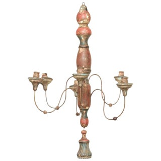 Antique Tuscan Wood Carved Chandelier