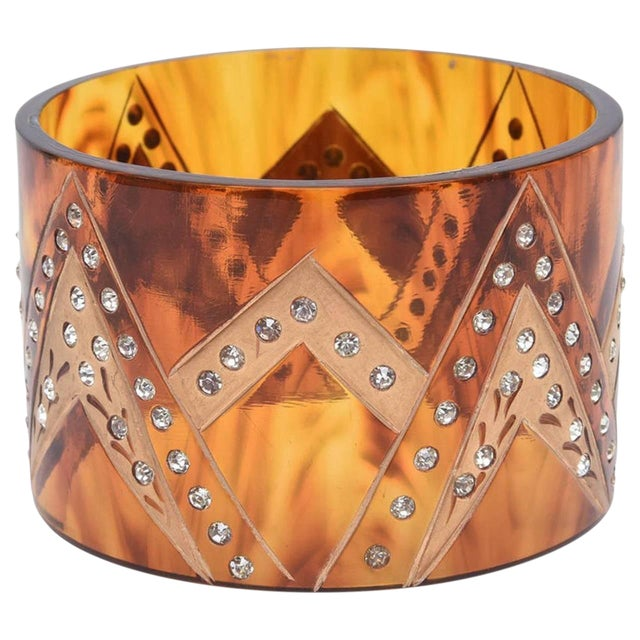 French Tortoise Resin and Rhinestone Cuff Bracelet For Sale