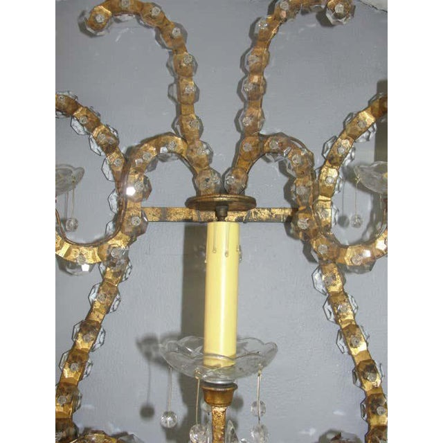 Metal Oversized Gilt Iron & Crystal Sconces Attrib. To Jansen - a Pair For Sale - Image 7 of 8