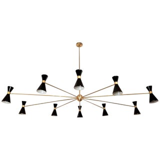 Blueprint Lighting Italian Campana Oval Brass & Enamel Chandelier For Sale