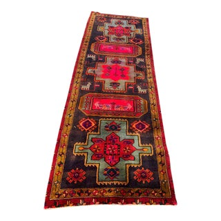 Hand-Tied Blue and Pink Persian Serapi Wool Runner Rug For Sale