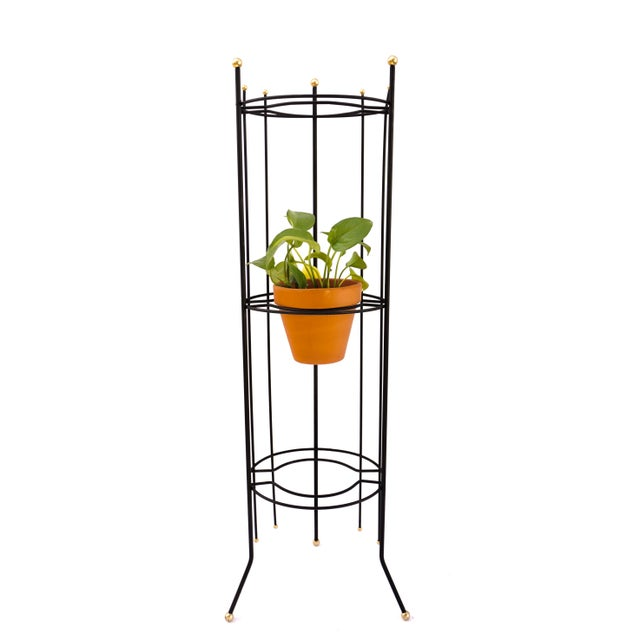 Metal Mid-Century Atomic Era 3-Tier Metal Plant Stand ||Retro/Industrial Chic Black & Gold Tri-Level Vertical Tall Planter Stand || Sputnik Design For Sale - Image 7 of 11