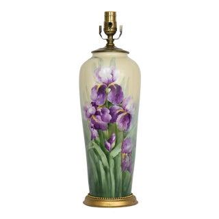 Restored Early 20th Century Austrian Handpainted Iris Lamp. For Sale