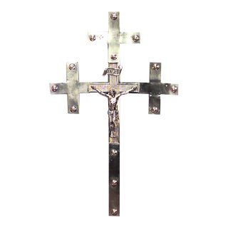 Eastern European Brass Wall Crucifix For Sale