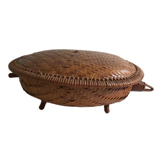 20th Century Boho Chic Wicker Turtle Shaped Covered Basket For Sale