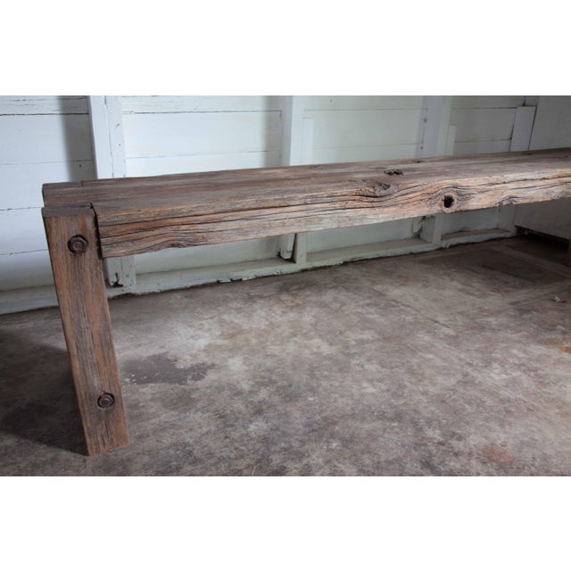 """Metal Reclaimed Wood Parsons Dining Entry Bed Bench Coffee Table 70"""" For Sale - Image 7 of 11"""