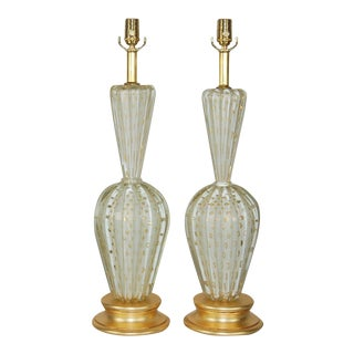 Vintage Murano Glass Lamps White & Gold For Sale
