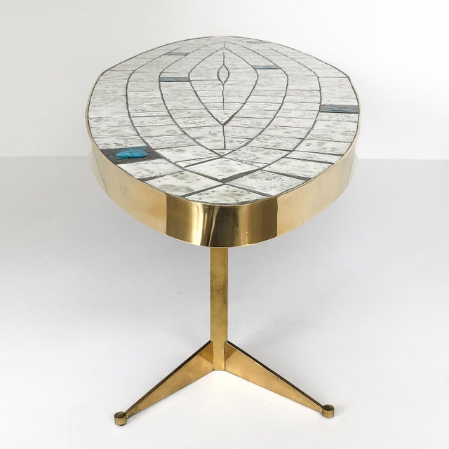 Metal Italian Brass Tiled Top Surfboard Coffee Table For Sale - Image 7 of 13