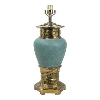 Vintage Porcelain Robin Egg Blue and Brass Table Lamp For Sale