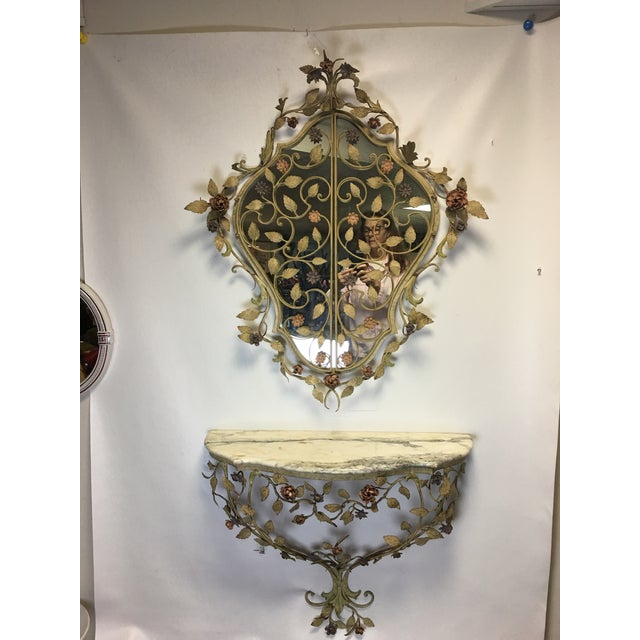 1950s Vintage Italian Tole Caged Mirror & Marble Top Console Table For Sale - Image 10 of 13