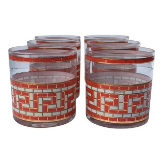 Mid-Century Greek Key Tumblers - Set of 8