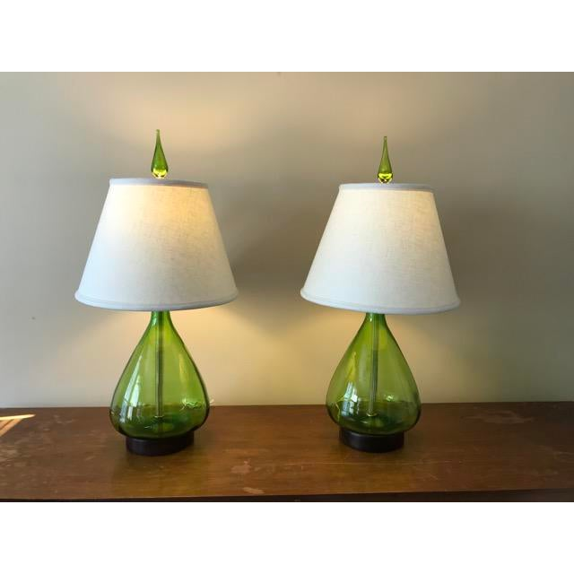Olive green glass blenko table lamps a pair image 2 of 7