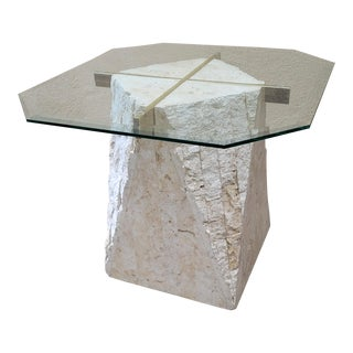Vintage Postmodern Tesellated Stone Travertine, Brass, and Glass Side Table For Sale