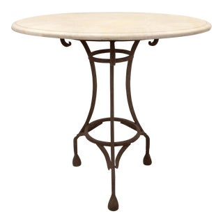 Wrought Iron Bistro Table W/ a Stone Top For Sale
