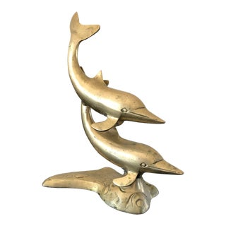 Vintage Brass Dolphins Statue For Sale