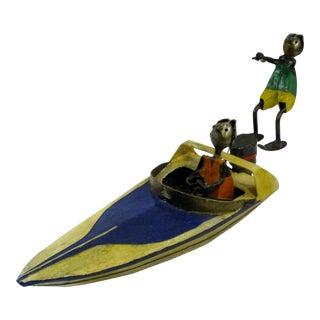 Vintage Mexico Artist Felguerez Metal Sculpture Speedboat Pulling Water Skier For Sale