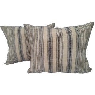 Striped Linen Homespun Pillows - A Pair