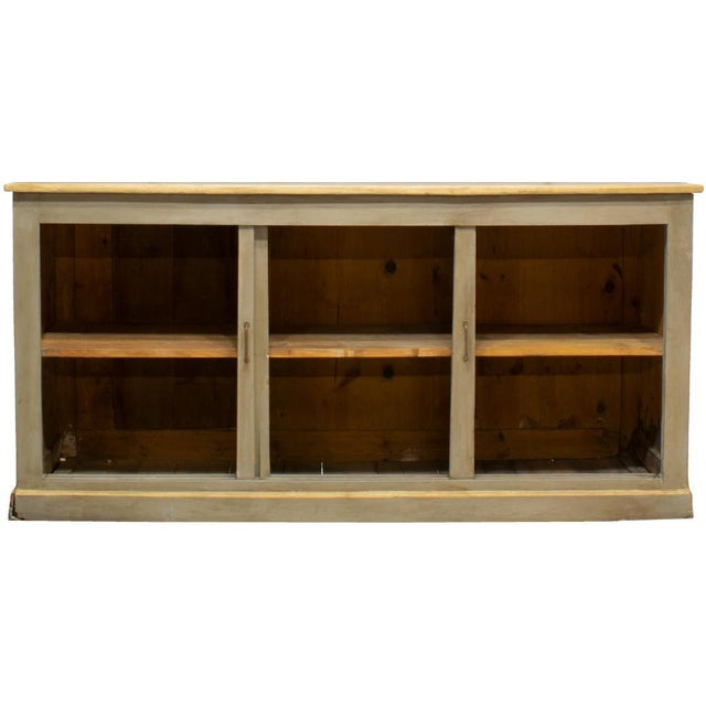 19th Century Louis Philippe Gray Painted Shelved Cabinet For Sale - Image 4 of 6