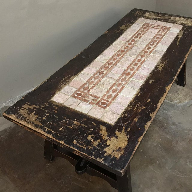 19th Century Spanish Table With Marble Tiles For Sale - Image 10 of 13