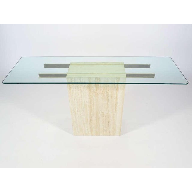 Guy Barker Italian Travertine and Glass Console Table by Ello For Sale - Image 4 of 11