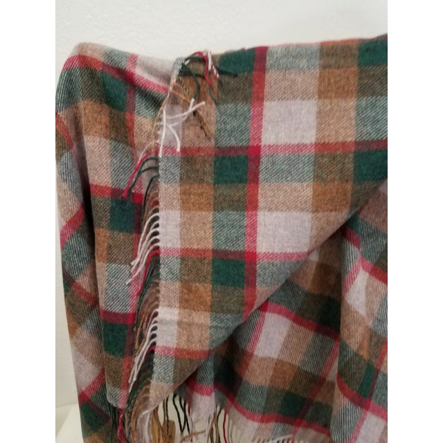 2020s Wool Throw Green, Red, Brown in a Check Design - Made in England For Sale - Image 5 of 11