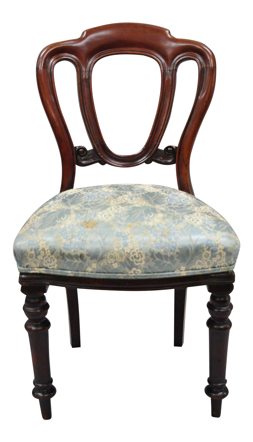 Antique 19th Century English Victorian Balloon Back Mahogany Library Side  Chair