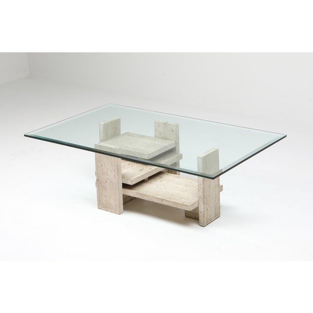 1970s Travertine Postmodern Coffee Table - 1970s For Sale - Image 5 of 10
