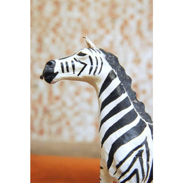 Mid-Century Leather Wrapped African Zebra Sculpture - Image 4 of 7