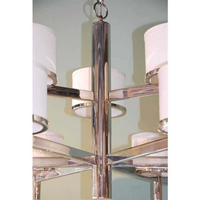 Paul Marra Paul Marra Design Nine Arm Silk Drum Chandelier For Sale - Image 4 of 6