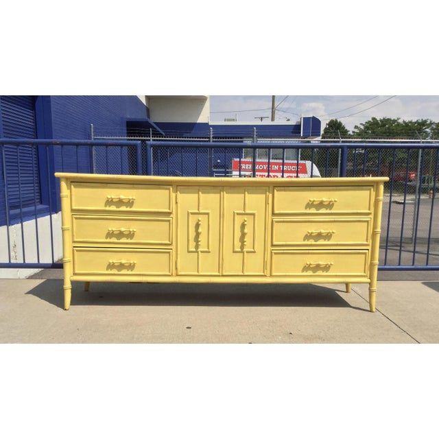 Hollywood Regency Faux Bamboo Yellow Dresser by Mount Airy For Sale - Image 11 of 11