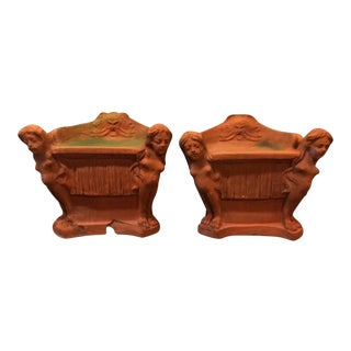 Italian Terra Cotta Sphinx Garden Chairs - A Pair For Sale