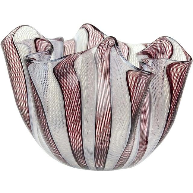 Venini Bianconi Murano Italian Art Glass Fazzoletto Handkerchief Ribbons Vase For Sale In Orlando - Image 6 of 6