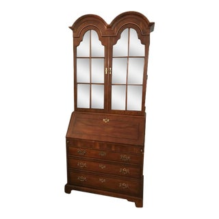 Vintage Chippendale Yew Wood Secretary Display Cabinet