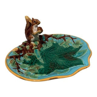 1870s George Jones Majolica Squirrel Nut Dish, English For Sale