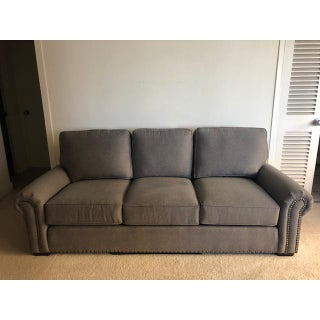 21st Century Vintage Smith Brothers Custom Charcoal Gray Couch For Sale