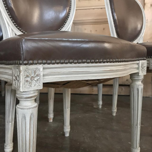 French Set of 8 Antique French Louis XVI Dining Chairs Includes 2 Armchairs For Sale - Image 3 of 13