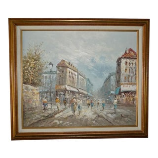 1980s Caroline Burnett Paris Street Scene Flower Market Oil Painting For Sale
