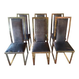 French Brass Dining Side Chairs by Michel Mangematin, C.1970s - Set of 6 For Sale