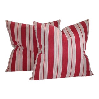 19th Century Antique Ticking Pillows - A Pair For Sale