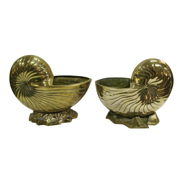 Vintage Huge Brass Nautilus Seashell Planters - a Pair For Sale - Image 14 of 14