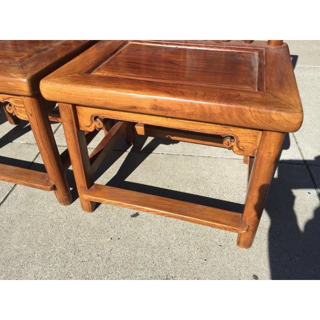 "Set of 4 antique Chinese Elmwood tea table chairs. These are so cute. They are 37"" tall x 17"" wide x 14"" deep. The seat..."