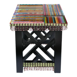 Artist Embellished Side Table or Stool W/ Pencils and Beads For Sale