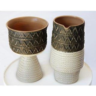 Mid Century Bitossi Fratelli Fanciullacci Italian Sgrafitto Pottery Set - a Pair Preview