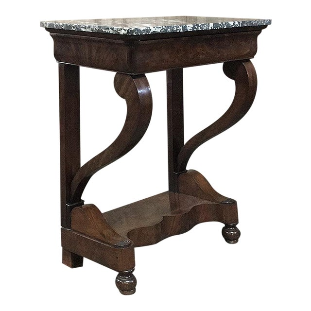 19th Century French Louis Philippe Mahogany Marble-Top Console For Sale