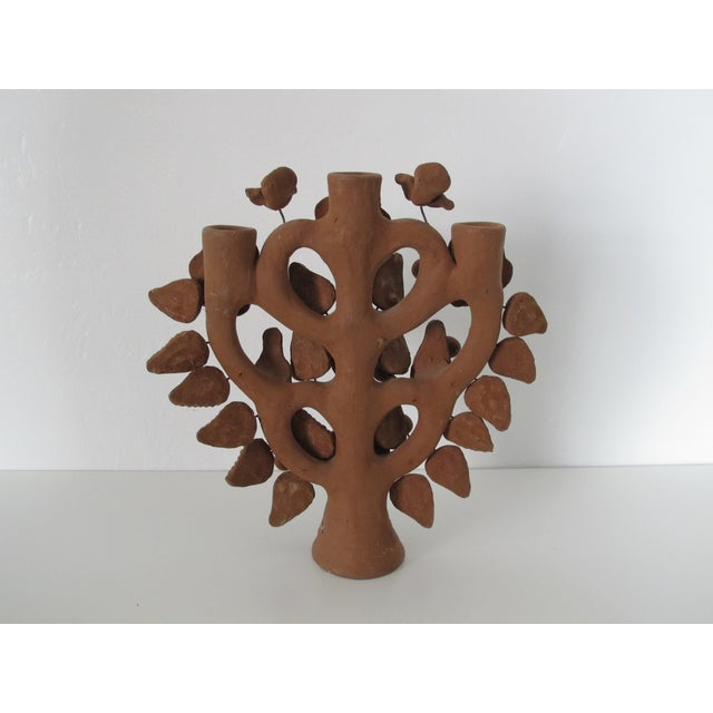 Mexican Folk Art Tree of Life Candleholder - Image 5 of 6