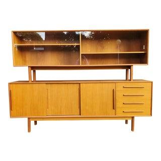 1970s Danish Teak Modern China Cabinet Credenza by h.p. Hansen For Sale