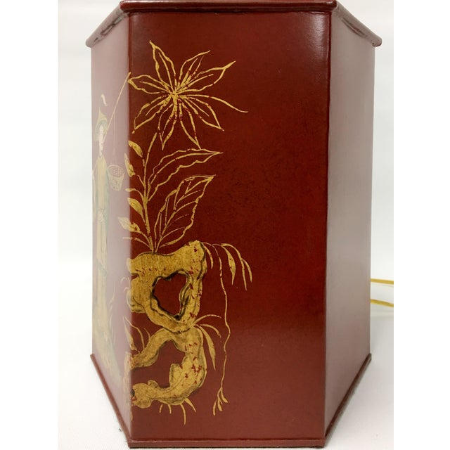 Asian Red Chinoiserie Tea Caddy Lamp For Sale - Image 3 of 5