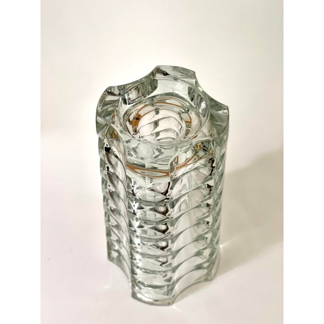 Vintage Art Deco Geometric Pattern Heavy Cut Crystal Luminarc France Art Glass Windsor Vase For Sale In Boston - Image 6 of 7
