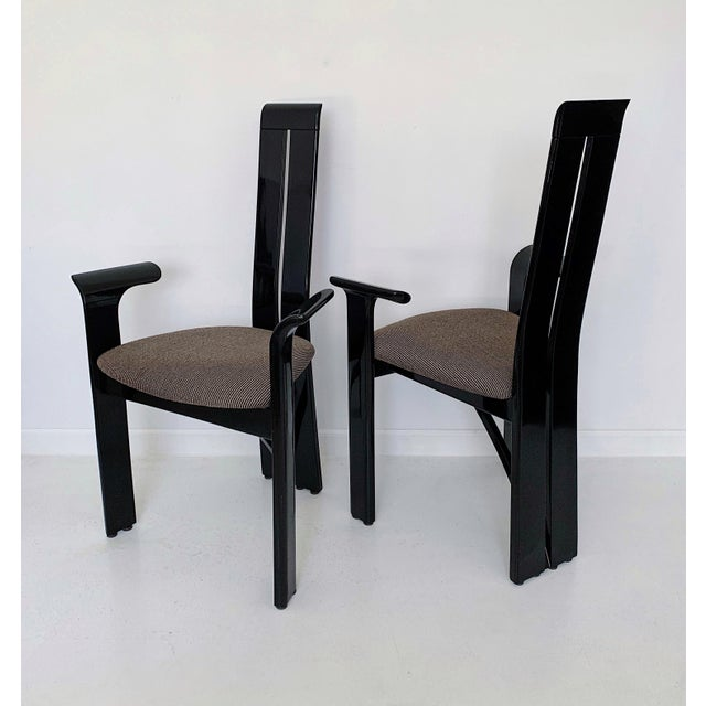1990s 1990s Vintage Italian Pietro Costantini High Back Black Lacquer Dining Chairs- Set of 6 For Sale - Image 5 of 13