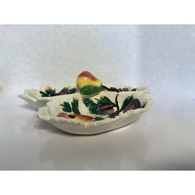 1960s Vintage Italian Trompe L'oeil Fruit Divided Serving Dish For Sale - Image 4 of 8
